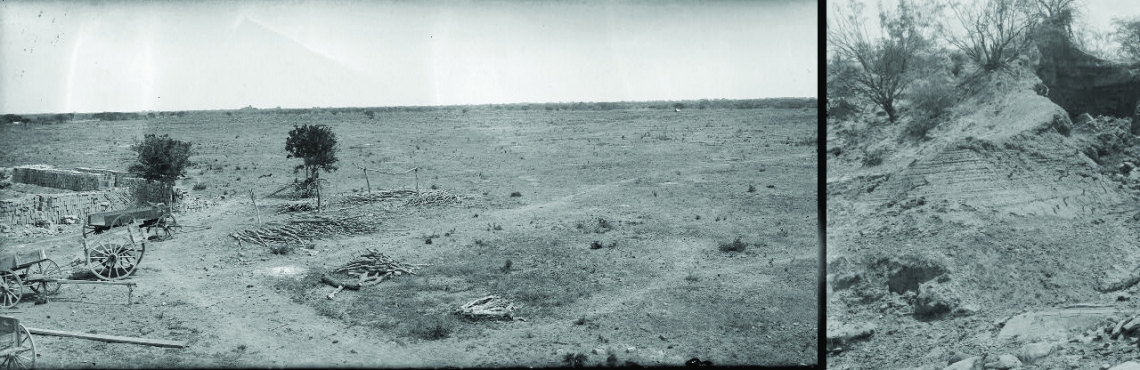 Two Robert Runyon photographs of barren South Texas fields, all that is missing is tumbleweeds.